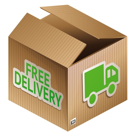 delivery car: box with free shipping icon - internet shopping icon Illustration
