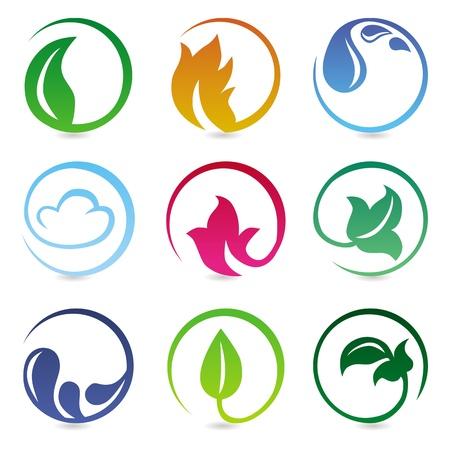 příroda: konstrukční prvky s přírodou známky - abstraktní ikony Ilustrace