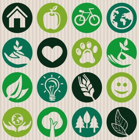 green seamless pattern with ecology signs and symbols