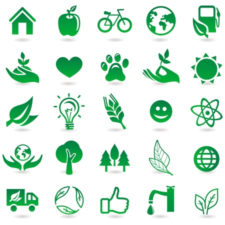 eco house: ecology signs and icons - eco friendly design elements Illustration