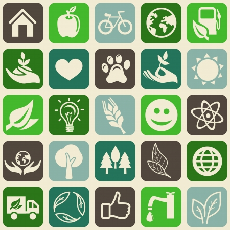 green seamless pattern with ecology signs and symbols Vector