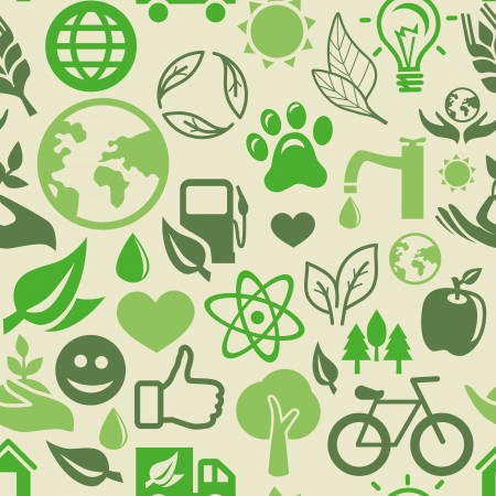green seamless pattern with ecology signs and symbols Stock Vector - 16440450