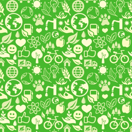 green seamless pattern with ecology signs and symbols Stock Vector - 16440455
