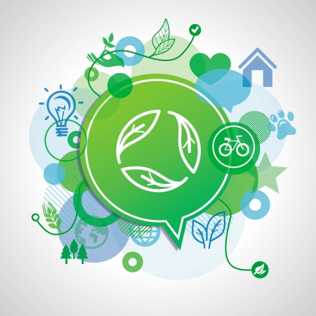 ecology concept - design elements and signs