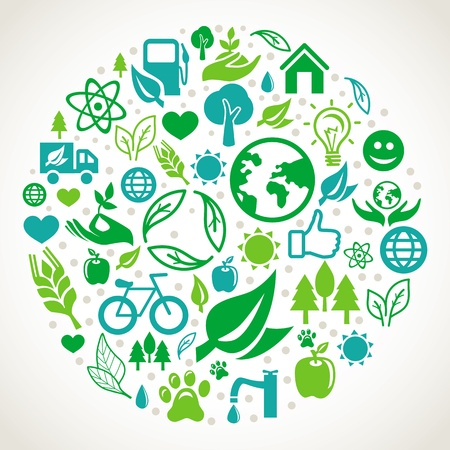 clean heart: ecology concept - round design element made from icons and signs