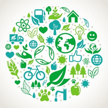 Ökologie-Konzept - runde Bauform Element Symbole und Zeichen aus