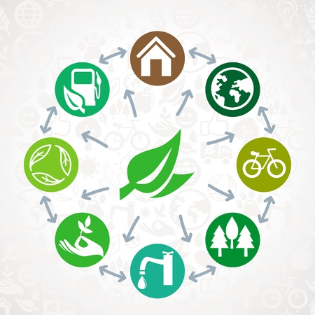 green  ecology concept - round design element made from icons and signs Vector