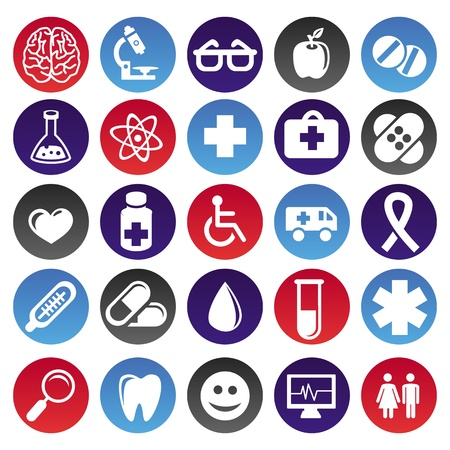 medical signs: Vector medical icons and signs - circle buttons