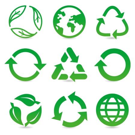 reciclar: vector colección de signos y símbolos de reciclaje en el color verde Vectores