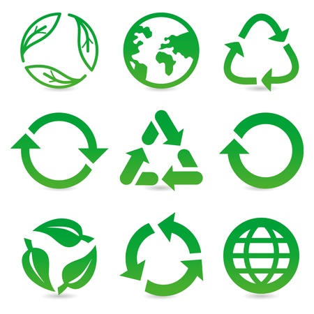 vector collection with recycle signs and symbols in green color Vector
