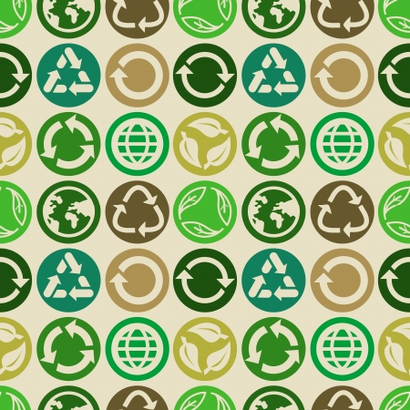 Vector seamless pattern with ecology signs and icons - abstract background Vector