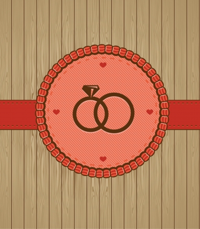 anillos de boda: Vector tarjeta de felicitación Vintage con anillos de boda - fondo