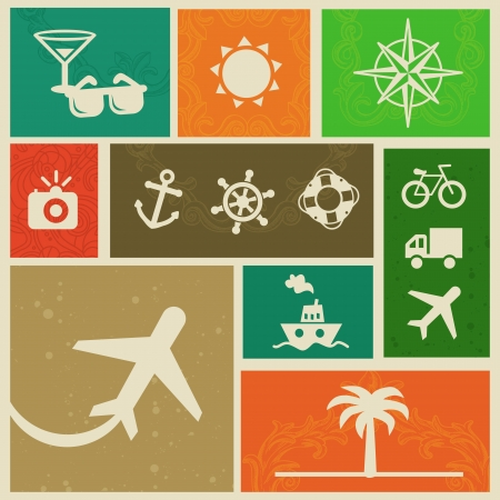 Vector vintage labels with travel signs and symbols - retro design elements Vector