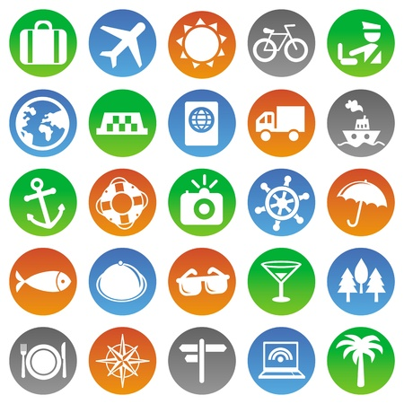 Vector travel icons - vacation signs and symbols Stock Vector - 16463713
