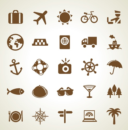 Vector travel icons - vacation signs and symbols Stock Vector - 16463716