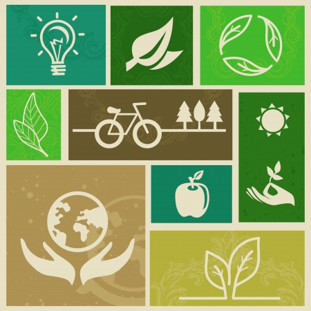 Vector retro labels with ecology signs and icons Stock Vector - 16463742