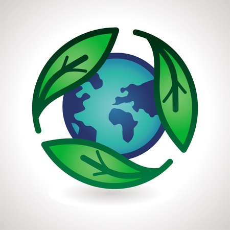 recycling logo: Vector recycle sign - abstract emblem with leaf and earth