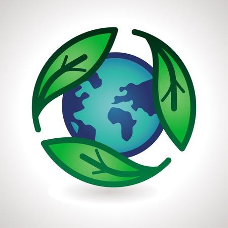 logo recyclage: Vector recycler signe - Emblème abstrait avec des feuilles et de la terre Illustration