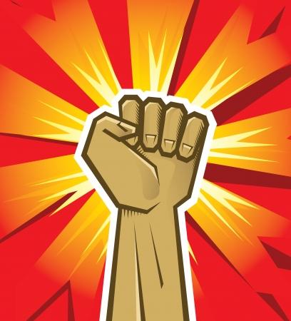 파악: 붉은 색과 오렌지색 배경에 혁명 손