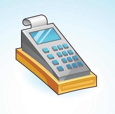 caja registradora: registro efectivo icono - ilustración vectorial