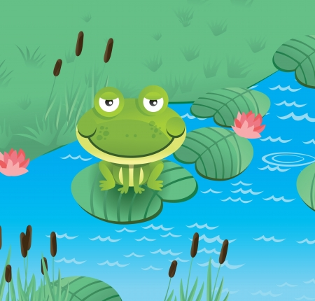 lilypad: happy smiling frog  - vector illustration Illustration