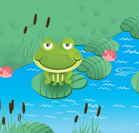 tree frogs: happy smiling frog  - vector illustration Illustration