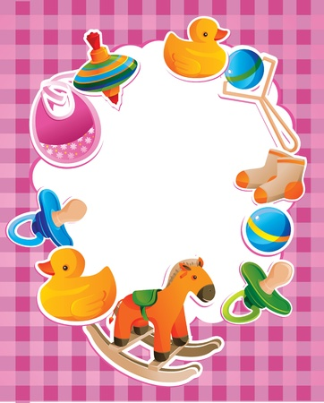 babero: vector marco con los juguetes de los niños con el espacio en blanco Vectores