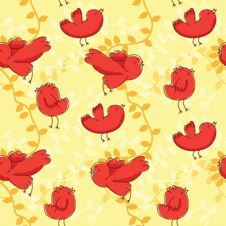 floral seamless pattern with birds Vector