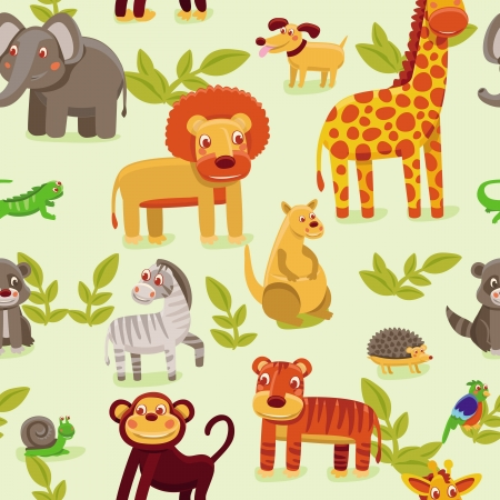vector wallpaper: vector seamless pattern with cartoon animals - wallpaper background for kids