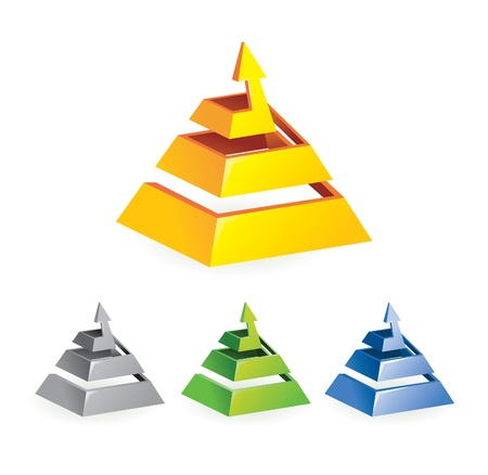 pyramids: abstract arrow sign - vector illustration in different colors