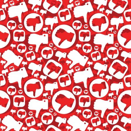 dislike: naadloze patroon met afkeer tekenen Stock Illustratie