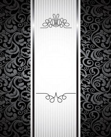 balck: floral background with copy space for text - vector illustration in black and white Illustration