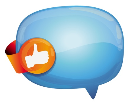 top pointer: recommendation bubble - with like sign - vector illustration
