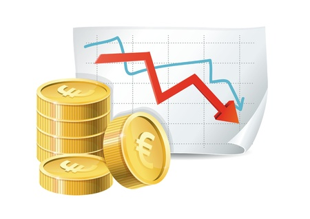 euro finance crisis concept - golden coins and descending graph - vector illustration Stock Vector - 16595578