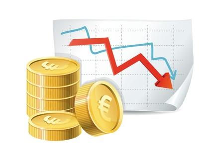 risk analysis: euro finance crisis concept - golden coins and descending graph - vector illustration Illustration