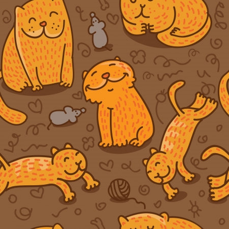 purr: vector seamless pattern with cats in different poses