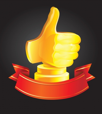 goal achievement: best choice award - golden hand - vector illustration