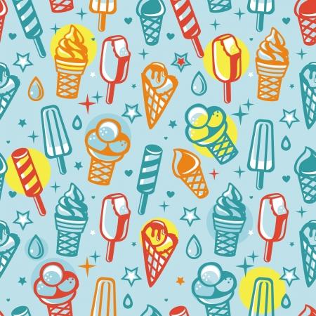 helado caricatura: Vector inconsútil del modelo con crema de hielo historieta - fondo abstracto