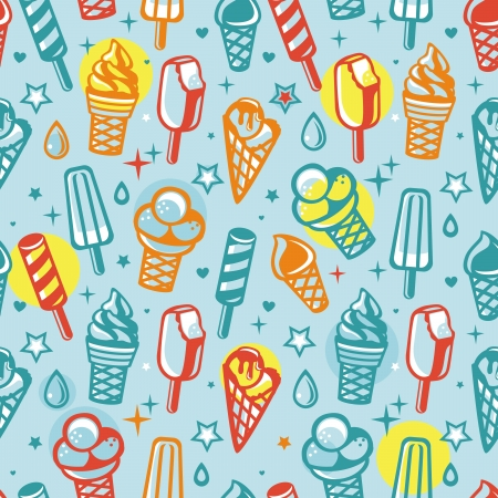 ice cream cartoon: Vector seamless pattern with cartoon  ice cream - abstract background Illustration
