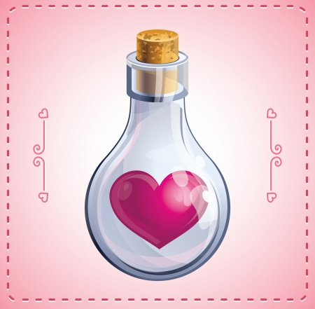 poison bottle: valentine card with heart in bottle Illustration