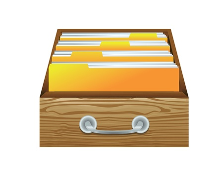 drawer: vector catalog - wooden drawer with folders for files Illustration