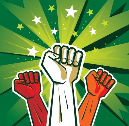 puÑos: cartel revolución mano - ilustración sobre fondo verde Vectores