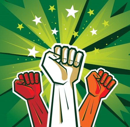 protest: revolution hand poster - illustration on green background