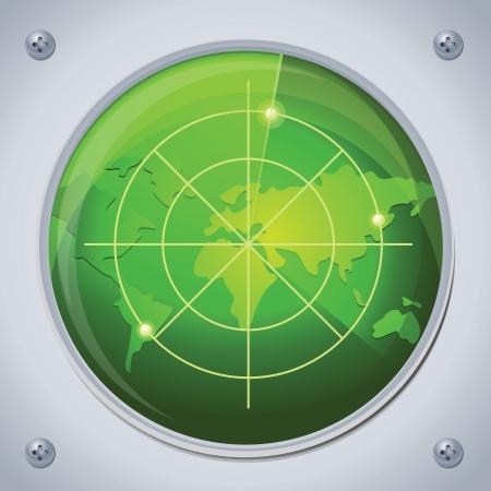 nadzór: radar wektorowych w kolorze zielonym Ilustracja