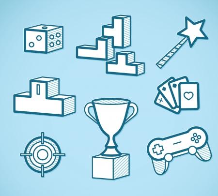 bowl game: set of game icons - outline vector illustration Illustration