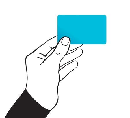 hand holding card: hand houden card - vector illustratie
