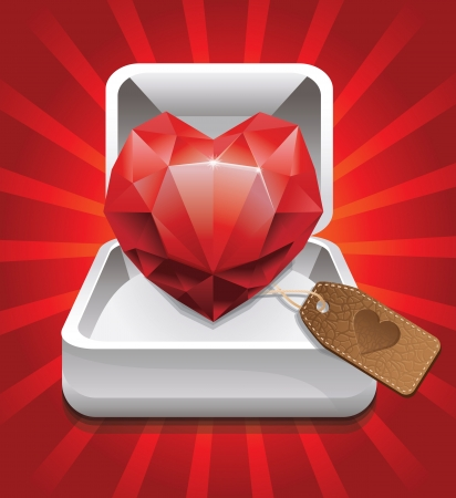clarity: box with ruby in shape of heart and leather label -vector illustration