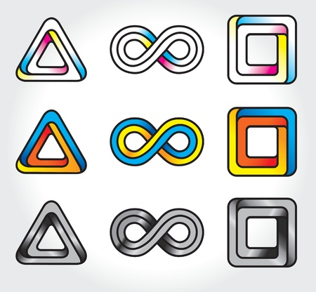 endlessness: set of abstract infinite logos  - vector icons