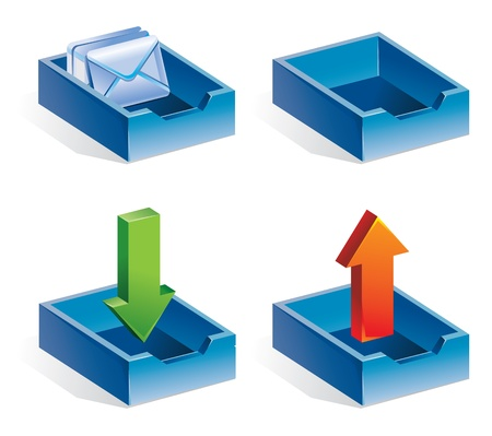 inbox icon: mail icons - vector illustration - receive mail, send mail, received letters, empty container