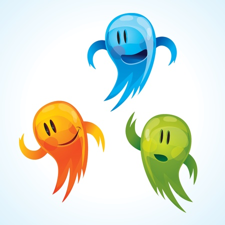 moods: funny mascots in different colors and moods Illustration